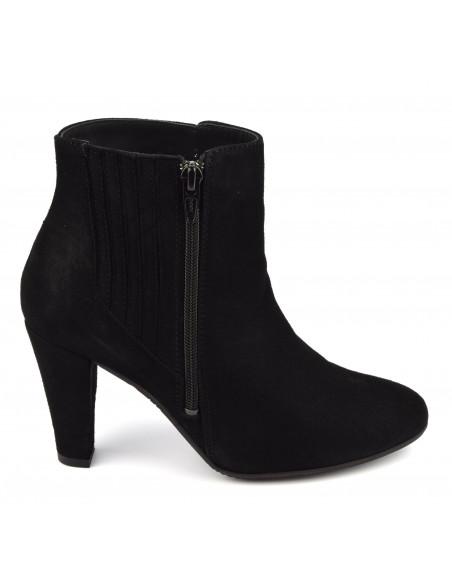 Bottines stylées cuir daim noir, femme petits pieds, Vaya, Bella B