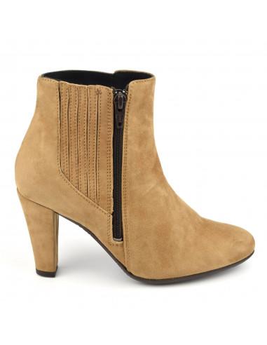 Bottines stylées daim camel, femme petits pieds, Vaya, Bella B