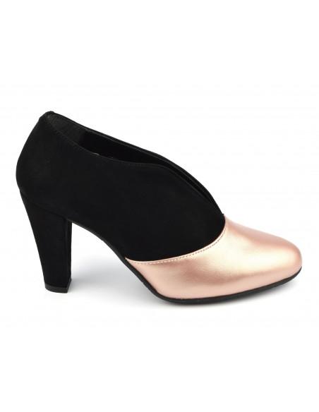 Low boots échancrées bimatière, daim noir et nude rosé, petites tailles 33, 34, Valto, Bella B