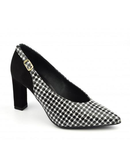Escarpins pied de poule, noir et blanc, femme petite pointure, 2040, Dansi