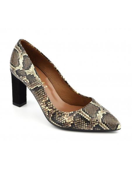 Escarpins python marron,femme petites pointures, 2041, Dansi