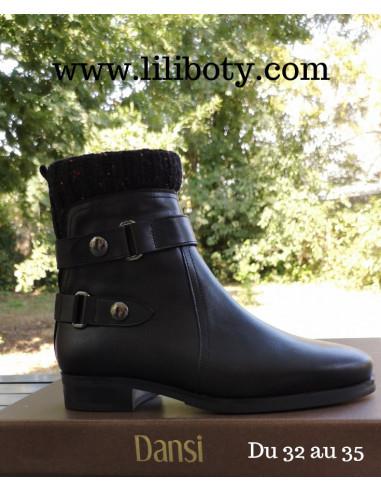 Soquette boots, cuir lisse noir, femme petites pointures, 1611, Dansi