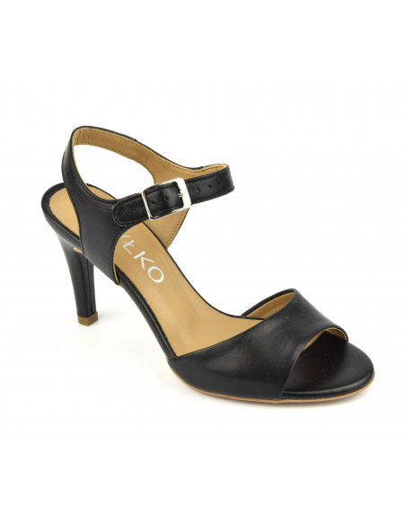 Sandales cuir lisse noir, Rylko, Pologne, femme petite pointure