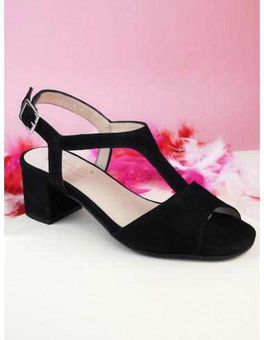 Sandales petits talons carrés, daim noir, Astoria, Bella B