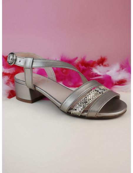 Sandales nu-pieds cuir lisse doré, petite taille femme, Finland, Bella B