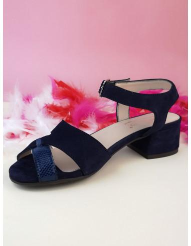 Sandales nu pieds, daim bleu marine, Filter, Bella B
