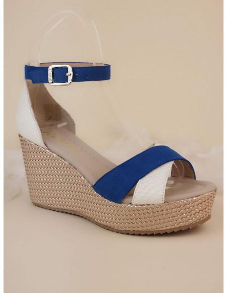 Sandales compensées, bleu et blanc, 2542, Dansi, femme petits pieds