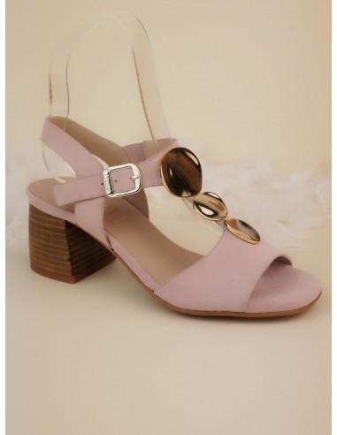 Sandales talons carrés, daim rose poudré, 2441, Dansi, femme petites pointures, chaussure