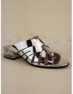 Mules talons transparent, cuir argent, 2342, Dansi, chaussure petite pointure