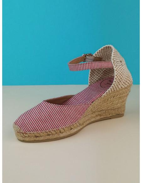 Sandales compensées rayures rouges, Corfu-5MT, Toni Pons, pointure 33, pointure 34, en diagonal