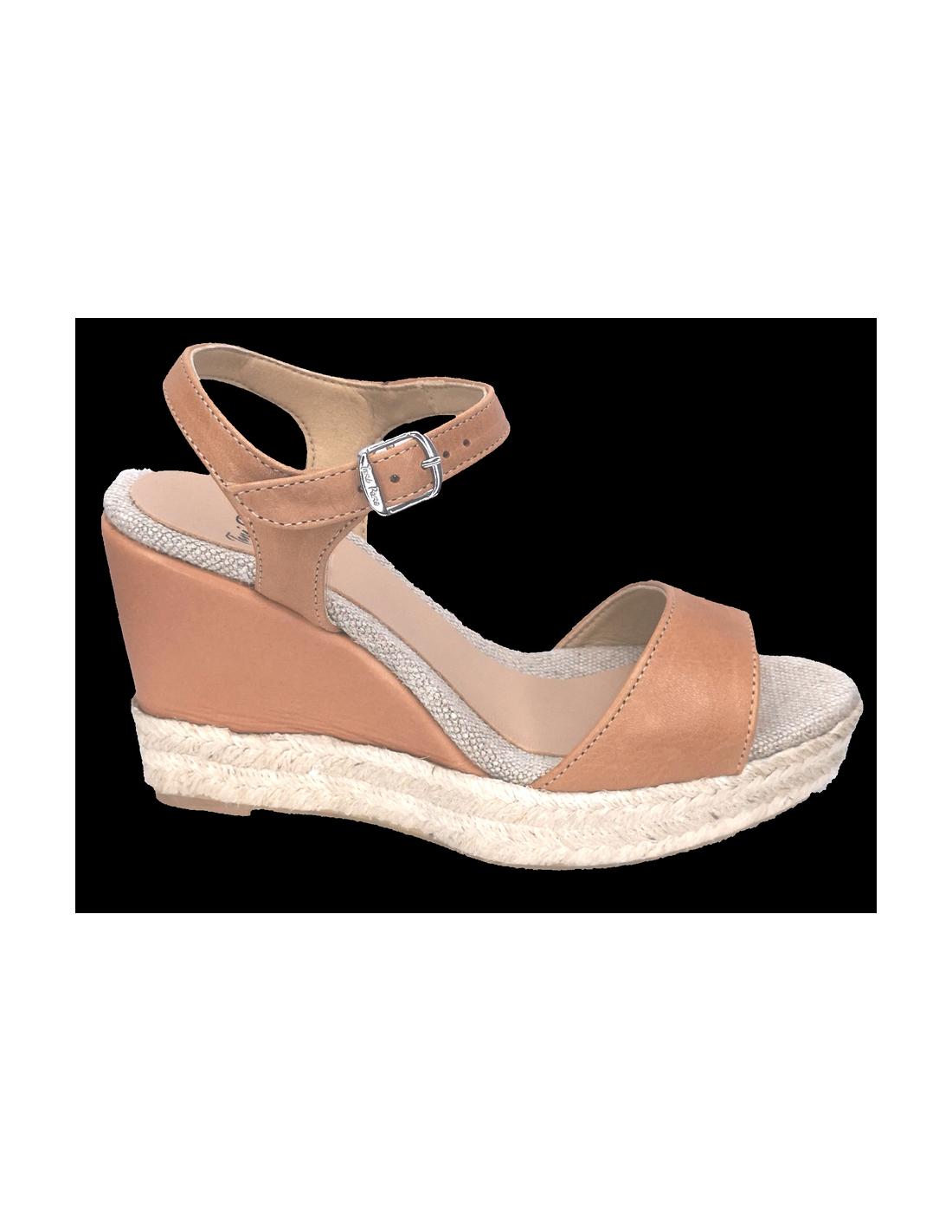 Sandales compensées, cuir lisse marron clair, Agnes P, Toni Pons