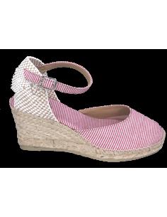 Sandales compensées rayures rouges, Corfu-5MT, Toni Pons, pointure 33, pointure 34