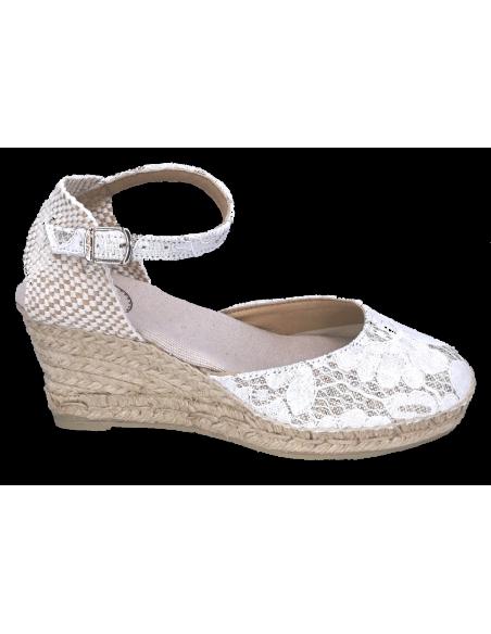 Sandales compensées, dentelle blanc écru, Corfu-5JA, Toni Pons, petite pointure, small feet shoes