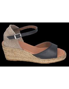 Sandales compensées cuir lisse noir, Llivia-P, Toni Pons, femme petites pointures