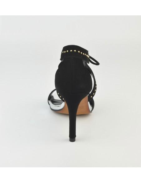 Sandales hauts talons - Daim Noir - Dansi - Femme petite pointure, vu du talon