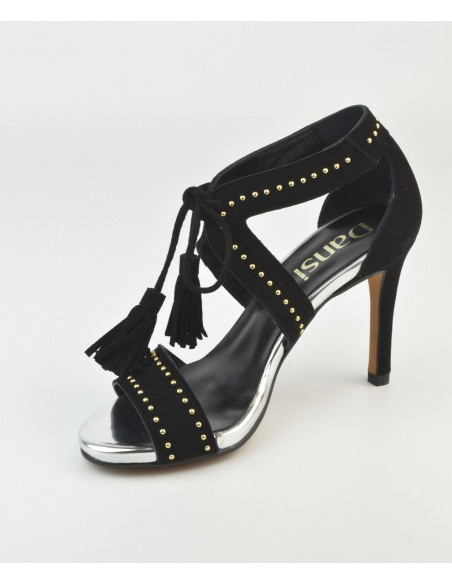 Sandales hauts talons - Daim Noir - Dansi - Femme petite pointure - Vu diagonale avant
