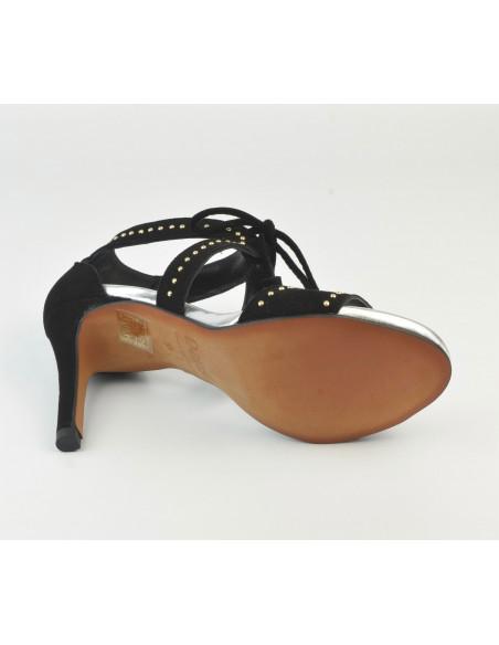 Sandales hauts talons - Daim Noir - Dansi - Femme petite pointure, vu de la semelle