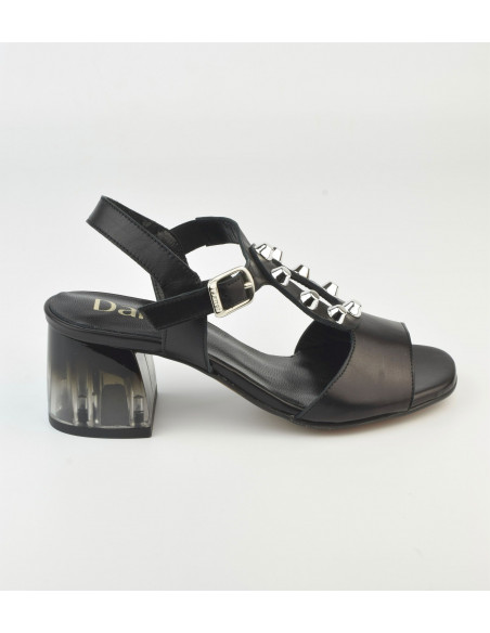 Sandales noires talon transparent 2487 Dansi - Vu profil doit