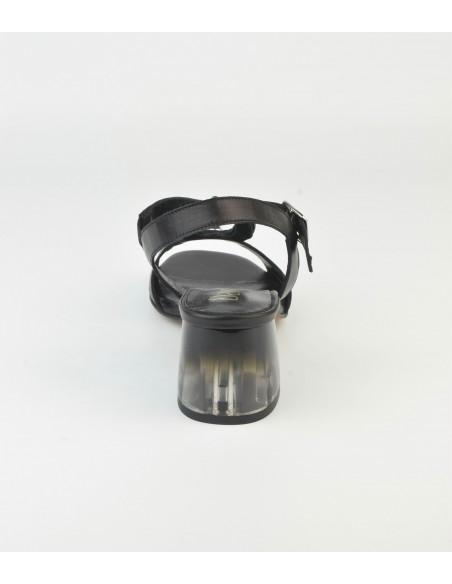 Sandales noires talon transparent 2487 Dansi - Vu talon arrière