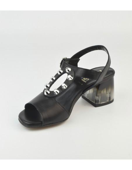 Sandales noires talon transparent 2487 Dansi - Vu diagonale interieur