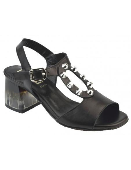 Sandales noires talon transparent 2487 Dansi - Vu avant