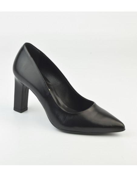 Escarpins bouts pointus, cuir noir - 2041 Dansi - Vu de devant