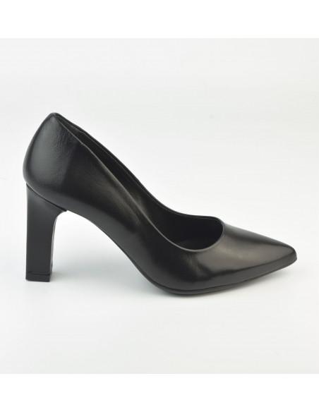 Escarpins bouts pointus, cuir noir - 2041 Dansi - Vu de profil