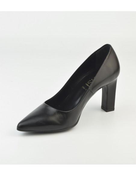 Escarpins bouts pointus, cuir noir - 2041 Dansi - Vu diagonale intérieure