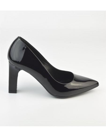 Escarpins cuir verni noir, 2041, Dansi - Vu de profil