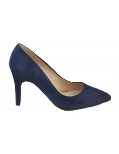 Escarpins suédine bleu marine, 8433 Dansi, petite pointure - Vue de profil