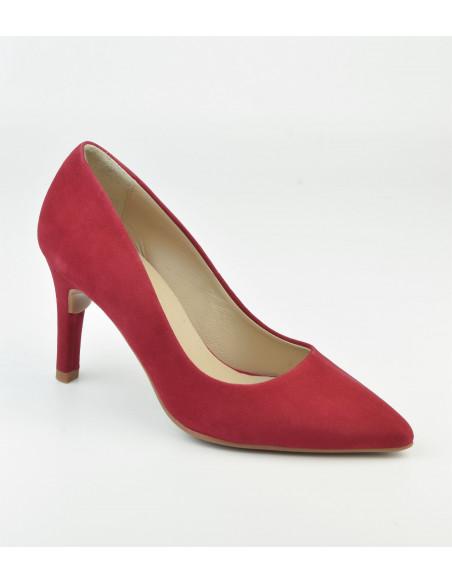 Escarpins daim rouge, 8433 Dansi, petite pointure - Vue avant
