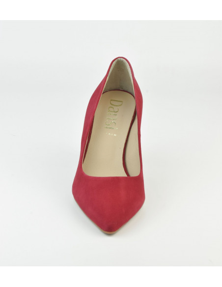 Escarpins daim rouge, 8433 Dansi, petite pointure - Vue pointe avant