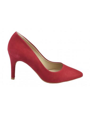 Escarpins daim rouge, 8433 Dansi, petite pointure - Vue de profil