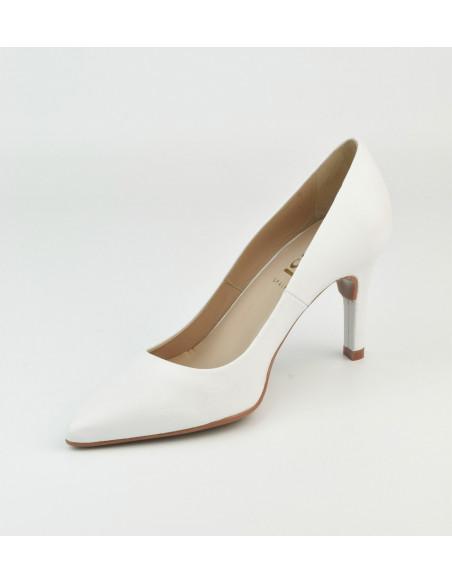 Escarpins cuir lisse blanc, 8433 Dansi, petites pointures - Vue diagonale intérieur