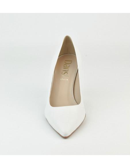 Escarpins cuir lisse blanc, 8433 Dansi, petites pointures - Vue pointe avant