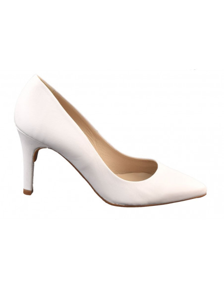 Escarpins cuir lisse blanc, 8433 Dansi, petites pointures - Vue profil