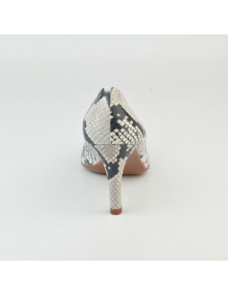 Escarpins cuir imprimé serpent, 8433 Dansi, petites pointures - Vue talon arrière