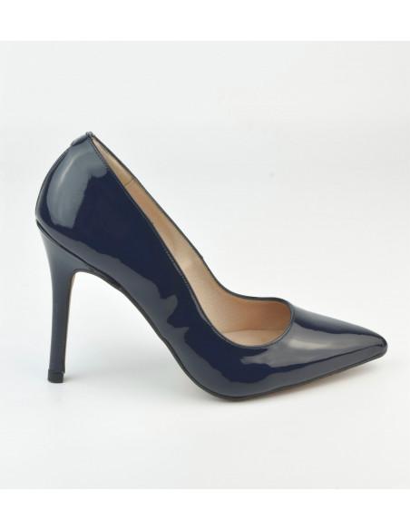 Escarpins verni bleu marine 1560 Dansi, petite taille - Vue profil