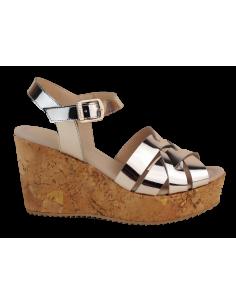 Sandales compensées, talon liège, cuir argenté, 2548, Dansi, femme petites tailles