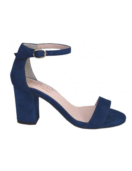 sandales brides daim bleu vue profil, femme petite pointures