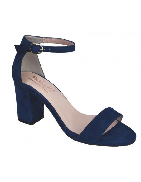 sandales brides daim bleu vue avant, femme petite pointures