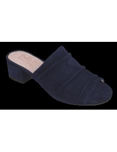 Mules basses, daim bleu marine, petits pieds femme, Fix, Bella B, vue avant