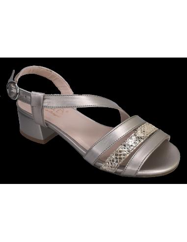 Sandales nu-pieds cuir lisse doré, petite taille femme, Finland, Bella B, vue avant