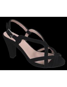 Sandales élégantes, daim noir, Vapy, Bella B, petites tailles femme, vue avant