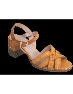 Sandales talons carrés, cuir jaune moutarde, 2527, Dansi, chaussure femme petites pointures, vue avant