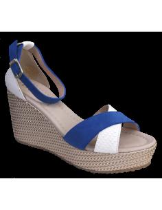 Sandales compensées, bleu et blanc, 2542, Dansi, femme petits pieds, vue avant