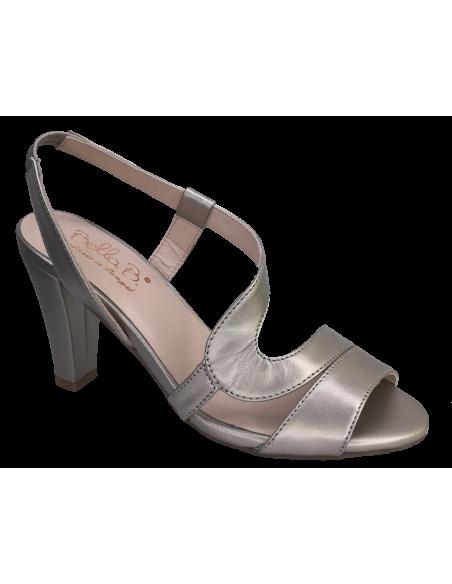 Sandales cuir lisse platine doré, petite pointure, Valon, Bella B, vue avant