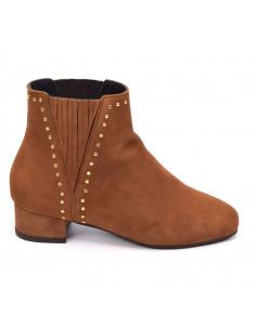 Boots petits talons, daim cognac, Peaky, Bella B, petite pointure 33 34 35, vu profil
