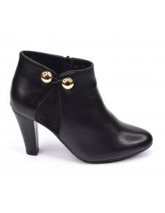 Low Boots cuir lisse noir, petite pointure, 33 34 35, Valerie, Bella B, vue profil