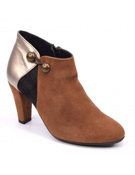 Low boots daim cognac, petite pointure 33 34 35, Valerie, Bella B, vue diagonale
